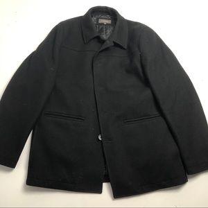 Denver Hayes Wool Pea Coat Black Mens XL